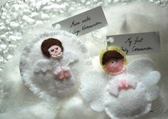 First Holy Communion / Erste heilige Kommunion Felt, Christmas Ornaments, Holiday Decor, Handmade Gifts, Home Decor, Saints, Communion, Kid Craft Gifts, Felting