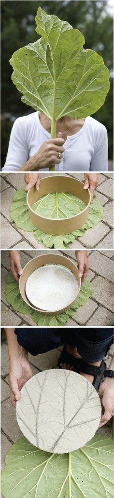 DIY garden project: concrete stepping stones  -  You will need: fine concrete, cardboard tubing and a big leaf :P :)
