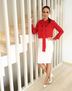 Red And White, Cold Shoulder Dress, Dresses For Work, Outfits, Shopping, Style, Fashion, Swag, Moda