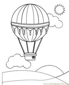 free printable coloring image Hot Air Balloon (2)
