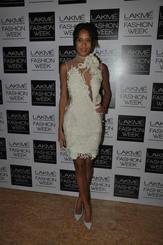 Lisa Hayden looking gorgeous in Gaurav Gupta ivory lace dress at Lakme Fashion Week