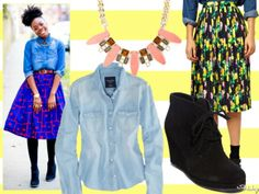 Look #1: With A Chambray Shirt, Booties & Statement Necklace