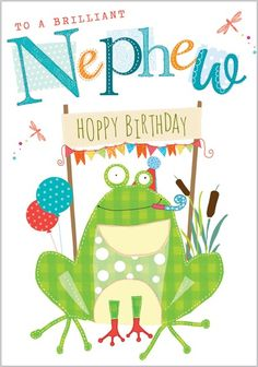 Card Ranges » 4883 » Nephew - Happy Birthday Frog - Abacus Cards - Greetings Cards, Gift Wrap & Stationery