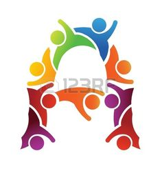 123RF logo illustration vector design A letter font teamwork by a group of people