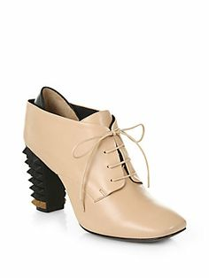 Fendi Polifonia Leather Lace-Up Ankle Boots
