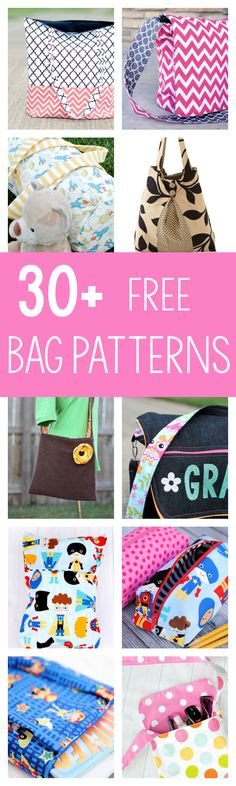 If you love bags, you are going to really LOVE these free bag sewing patterns. More than 30 bags that you can choose from to sew for yourself or others. Everything from tote bags and purses, duffels and messengers, there's something for everyone here! Easy Sewing Projects, Sewing Projects For Beginners, Sewing Hacks, Sewing Tutorials, Sewing Crafts, Sewing Tips, Bag Tutorials, Bag Patterns To Sew, Sewing Patterns Free