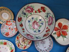 "16 pieces of antique and vintage porcelain and pottery, most believed to be English, including a 9.5""D floral decorated bowl, numerous small bowls and plates"