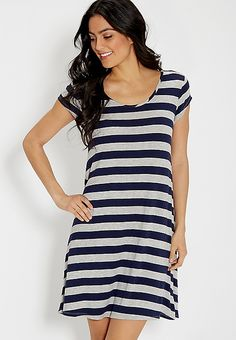 t-shirt dress with navy blue and charcoal rugby stripes | maurices