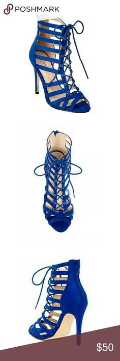"Sexy Royal Blue Heels by Catherine Malandrino Get noticed in these strappy royal blue, sexy, lace-up heels by Catherine Malandrino. They feature a zip up enclosure in the back fir easy on/off & a 4.25"" heel. Pair these with dresses, shorts or jeans & head out! These have never been worn. New with box. Catherine Malandrino Shoes Sandals"