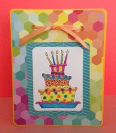 Birthday card with Wacky Cake stamp by Pink Ink Stamps. Patterned paper from #Summer by American Crafts.