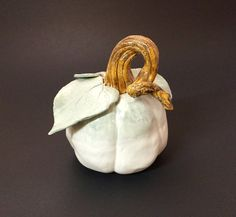 Handmade Pottery White Pumpkin by LivingWaterPottery on Etsy