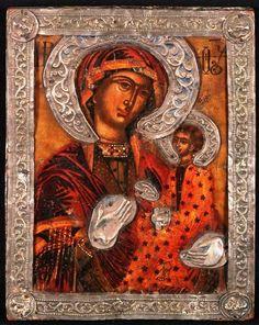 The Hodegetria Mother of God, Greek, century. Orthodox Icons, 17th Century, Mona Lisa, Greek, God, Artwork, Painting, Collection, Dios