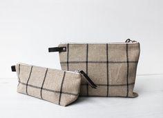 Linen Toiletry bag Men's Dopp Kit Cosmetic pouch by Bo Helina