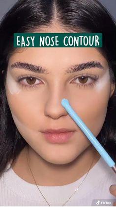 Nose Makeup, Eyebrow Makeup Tips, Makeup Tutorial Eyeliner, Makeup Looks Tutorial, Makeup Eye Looks, Contour Makeup, Skin Makeup, Beauty Makeup, Makeup Brushes