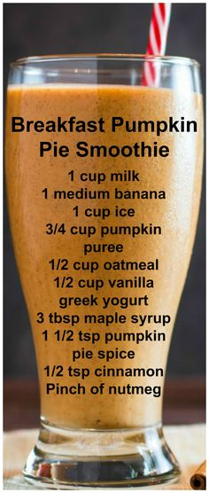 Creamy, smooth, and sinfully sweet, you won't believe how easy this Breakfast Pumpkin Pie Smoothie is to make! It's like having dessert for breakfast! Smoothie Detox, Juice Smoothie, Smoothie Drinks, Detox Drinks, Detox Juices, Pumpkin Pie Smoothie, Apple Smoothies, Healthy Breakfast Smoothies, Yummy Drinks