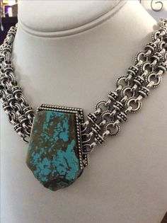 Sterling Silver and Kingman Turquoise necklace handmade by Bowman Originals.