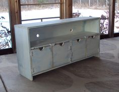 TV Cabinet Storage Bench 48 Inch Wide SHABBY CHIC By Usacreations, $300.00