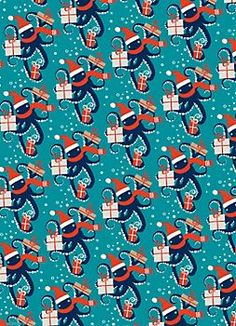 Holiday Octopus Wrapping Paper