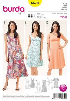 Burda Style Pattern 6670 Misses' Dress Burda Sewing Patterns, Clothing Patterns, Sewing Summer Dresses, Dress Sewing, Dress Making Patterns, Miss Dress, Sewing Clothes, Dressmaking, Pattern Fashion