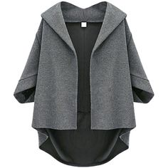 Dark Gray Irregularly Batwing Sleeve Pretty Womens Blazer (94.520 COP) ❤ liked on Polyvore featuring outerwear, jackets, blazers, coats, coats & jackets, blazer, dark gray blazer, dark grey jacket and dark grey blazer