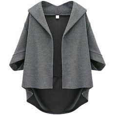 Dark Gray Irregularly Batwing Sleeve Pretty Womens Blazer (125 PLN) ❤ liked on Polyvore featuring outerwear, jackets, blazers, coats, blazer, coats & jackets, dark gray, dark grey blazer, dark grey jacket and dark gray blazer