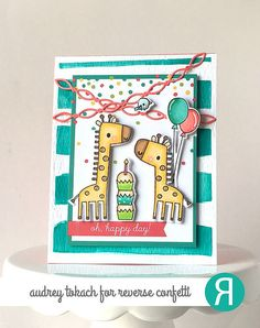 Card by Audrey Tokach. Reverse Confetti stamp sets: Lift Me Up and Monkey Business (balloons). Confetti Cuts: Lift Me Up, Monkey Business, and Linked Garland. Quick Card Panels: Party Time. Birthday card. Giraffes.