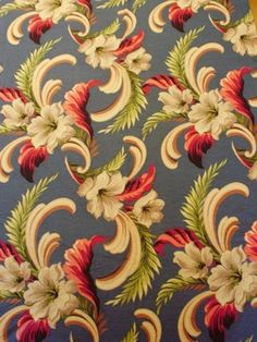 Vintage Beautiful Barkcloth Panel I remember a fabric very similar to this, but I'm not sure from where...