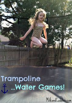 Lot's of ideas on how to add water fun to your trampoline play! Fun Trampoline Games, Trampoline Party, Best Trampoline, Backyard Trampoline, Outdoor Games To Play, Outdoor Fun For Kids, Summer Summer Summertime, Summer Kids, Summer Games