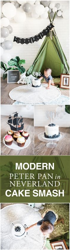 Modern Indoor Peter Pan Neverland Cake Smash in El Paso, boy cake smash, modern cake smash ideas, peter pan in neverland, el paso photography, boho chic cakesmash