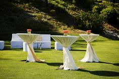 Outdoor-Cocktail-Tables with skirts! Patio Bar Set, Pub Table Sets, Cocktail Wedding Reception, Cocktail Tables, Banquet Tables, Bar Tables, High Tables, Do It Yourself Wedding, Pub Set