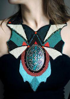 Futuristic statement necklace - fashion jewelry - contemporary beadwork designer - contemporary necklace - huge one of a kind - funcy necklace - beadwork fashion by RasaVilJewelry