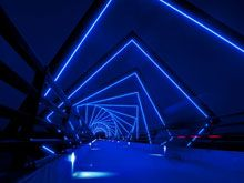 The high Trestle Bridge is a bridge designed by RDG that lights up in blue light at night, creating a surreal 3D effect. - your daily cup of inspiration.