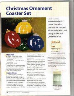 Christmas Ornament Coaster Set 2/3