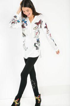 Blusa blanca de manga larga | Desigual.com 1015
