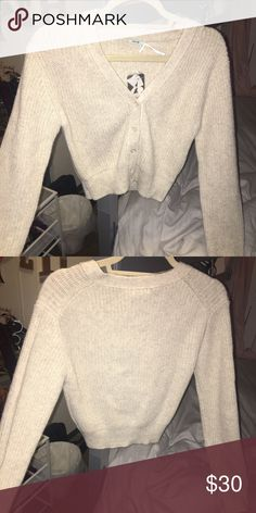 NWT Urban Outfitters Cream Cropped Sweater I believe this is a medium but I will confirm when I get home. Super soft and cozy cropped cardigan from Urban. Urban Outfitters Sweaters Cardigans