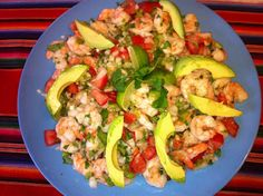 Cerviche, a Mexican cold  shrimp dish served as an entree or as a side. Looks Delish !