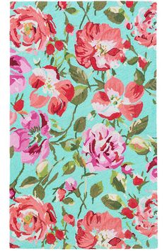 #DashandAlbert Parade Of Roses Wool Micro Hooked Rug. Wake up and see the roses each day with this gorgeously bright and detailed micro-hooked wool area rug. Featuring a cascade of blooms bursting in shades of pink, red, fuchsia, and green across an aqua background, this hooked wool rug is perfect for any space that could use a fresh pop of color and pattern.