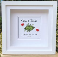 Two Peas in a Pod Personalised frame for the perfect couple…Valentine's, Engagement, Wedding…whatever the occasion this 'Two Peas in a Pod' frame is a unique and fun gift! Personalised Frames, Matching Gifts, Perfect Couple, Best Gifts, Valentines, Gift Ideas, Engagement, Writing, Unique