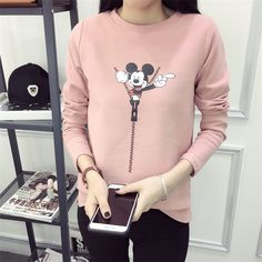 Best fashion just in, Woman Sweatshirt ... is available now, click the link http://modatendone.co.uk/products/woman-sweatshirt-disney-mickey-cartoon-funny-casual-design-vintage-acetate-long-sleeve-pink-grey-white?utm_campaign=social_autopilot&utm_source=pin&utm_medium=pin don't miss out our amazing collections!