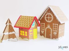 Fabriquer une maison de pain d'épices en carton | MOMES.net Cardboard Castle, Xmas, Christmas, Diy Party, Diy For Kids, Happy Holidays, Advent Calendar, Gingerbread, Daisy