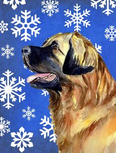 Leonberger Winter Snowflakes Holiday 2-Sided Garden Flag