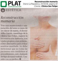 Clínica San Felipe: Reconstrucción mamaria en el diario La República de Perú (23/10/16)