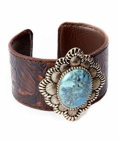 Look at this #zulilyfind! Turquoise & Bronze Leather Cuff by Barse #zulilyfinds