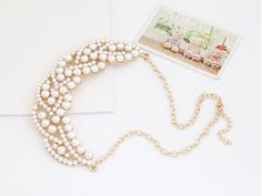 Chromall. Fashion Pearlescent Gold Tone Bib Necklace