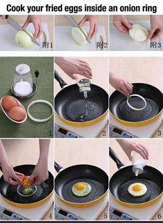 Fry your eggs inside an onion ring. A good idea.