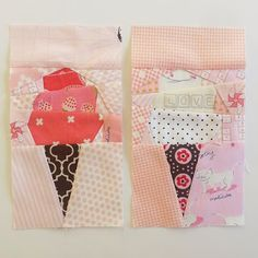 My finished Ice Cream Cone mini quilt. I have to say, I love this mini. I had so much fun making it. I created it for my daughters room. I am officially calling her room finished and moving o Mug Rug Patterns, Quilt Block Patterns, Quilt Blocks, Star Quilts, Mini Quilts, Quilting Projects, Quilting Designs, Sewing Projects, Fabric Postcards
