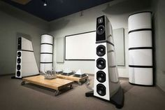Verity Audio Monsalvat speaker system with it's 2 bass columns driven by a full Nagra setup