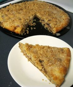 Cinnamon Streusel Dessert Pizza (easily made MSPI-friendly with spectrum organic all-vegetable shortening, earth's balance soy-free butter, and rice milk). Just 15 minutes if made with pre-made pizza dough.