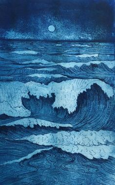 """Full Moon Waves"" Collagraph on paper by Jet James."