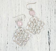 Celtic Knot Earrings Silver Celtic Knot Earrings Silver Earrings Blush Silver Earrings Chandelier Earrings Silver Long Earrings by FranceProvence #TrendingEtsy